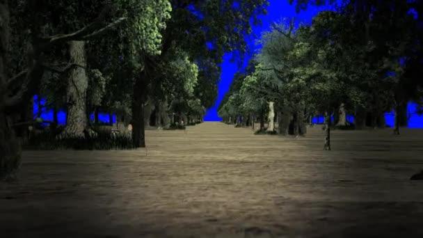 Procházky v lese na modré obrazovce