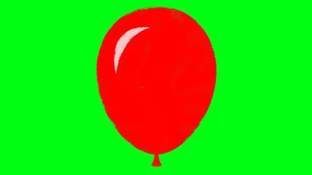 Kreslený natažený červený balón na pozadí zelené obrazovky