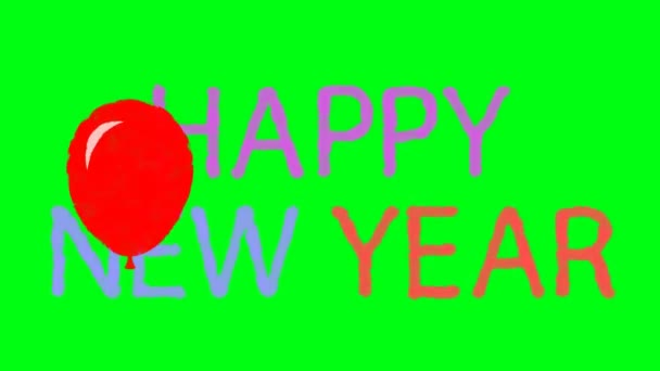 4k cartoon happy new year with flying balloons on a green screen background stock video