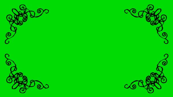 Real Animated Cartoon Decorative Shaped Border Corners on a Green Screen Background 4K
