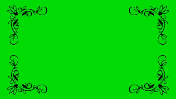 Real Animated Cartoon of Leaves Shaped Border Corners on a Green Screen Background 4K