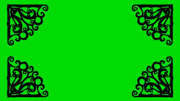 Real Animated Cartoon of Metal Shaped Border Corners on a Green Screen Background 4K