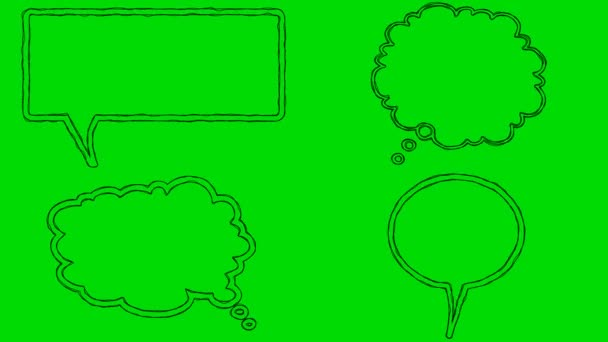 Real Animated Cartoon Speech Bubbles on a Green Screen Background 4K
