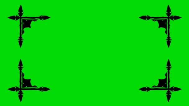 Real Animated Cartoon of Shaped Border Corners on a Green Screen Background 4K