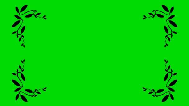 Skutečné animovaný film z olivových listů ve tvaru hranice rohy na pozadí zelené obrazovky 4k