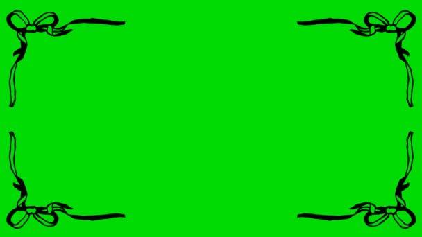 Cartoon Ribbon Knots Corner Shape Borders on a Green Screen Background 4K