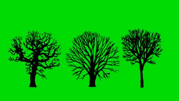 Kreslený nahý staré mrtvé stromy na pozadí zelené obrazovky