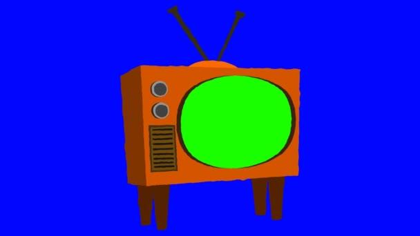 Régi rajzfilm televízió egy zöld képernyő kék háttérrel