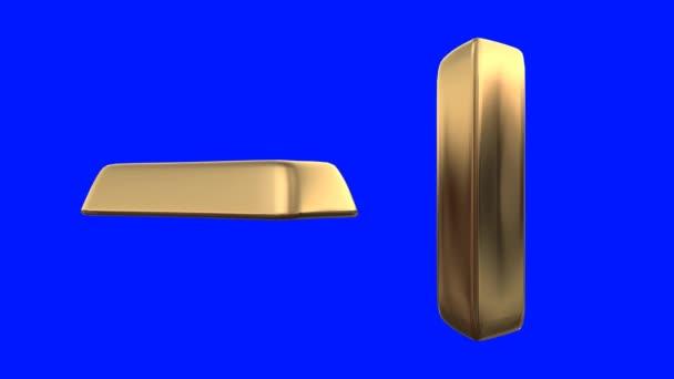 Uncia arany forog egy kék képernyő háttér
