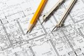 Fotografie stavebnictví, architektura rohlíky architektonické plány projektu