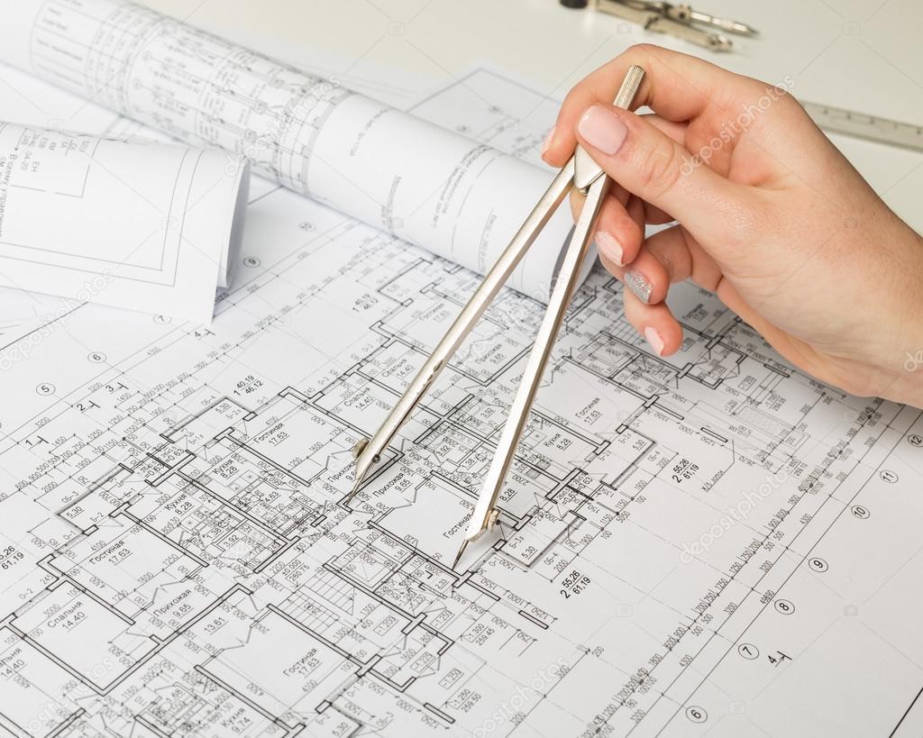 Architekt Entwurf arbeiten — Stockfoto © Fotofabrika #100650356
