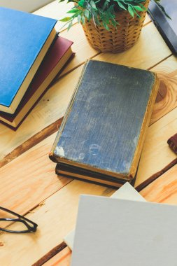 old books on desk