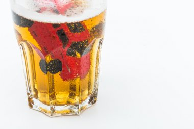 Image of a drunk driving accident inside a small glass