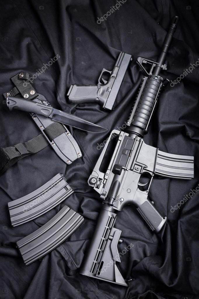 Modern Silah Siyah Arka Plan Stok Foto Fotofabrika 110676516