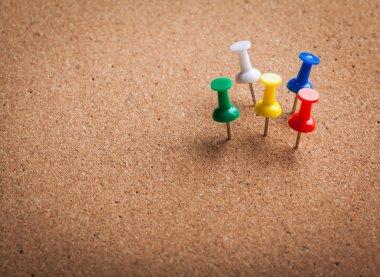 Group of color thumbtacks