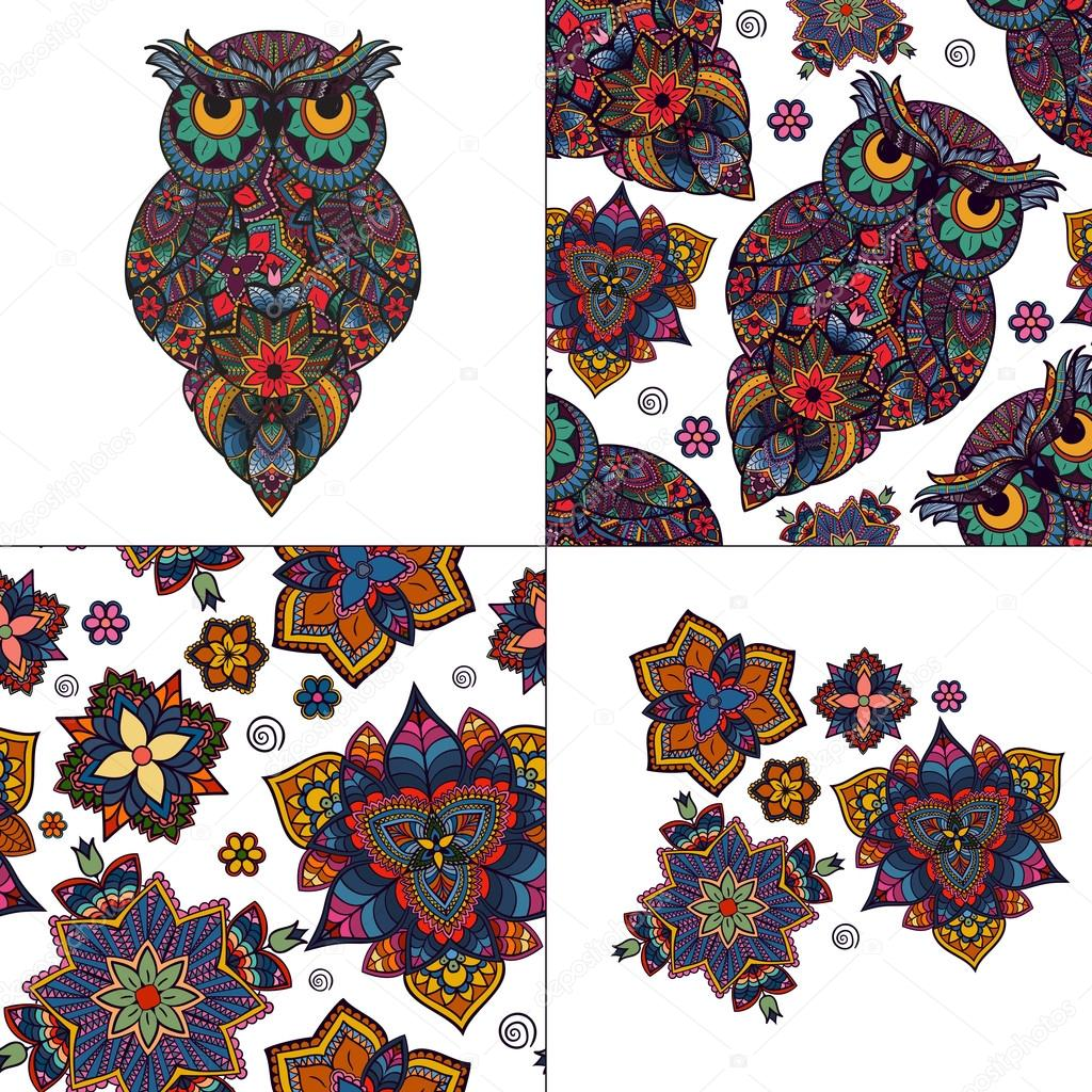 Set from illustration of owl. Bird illustrated in tribal. Owl with flowers on light background. Isolated on white.