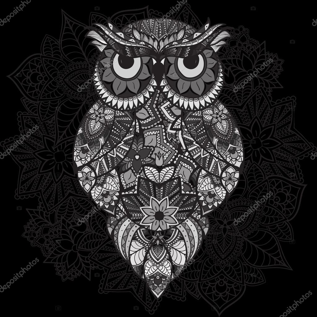 Patterned vector owl on the ornamental mandala background. African, indian, totem, tattoo design. Vector owl in tribal. doodle isolated black and white owl