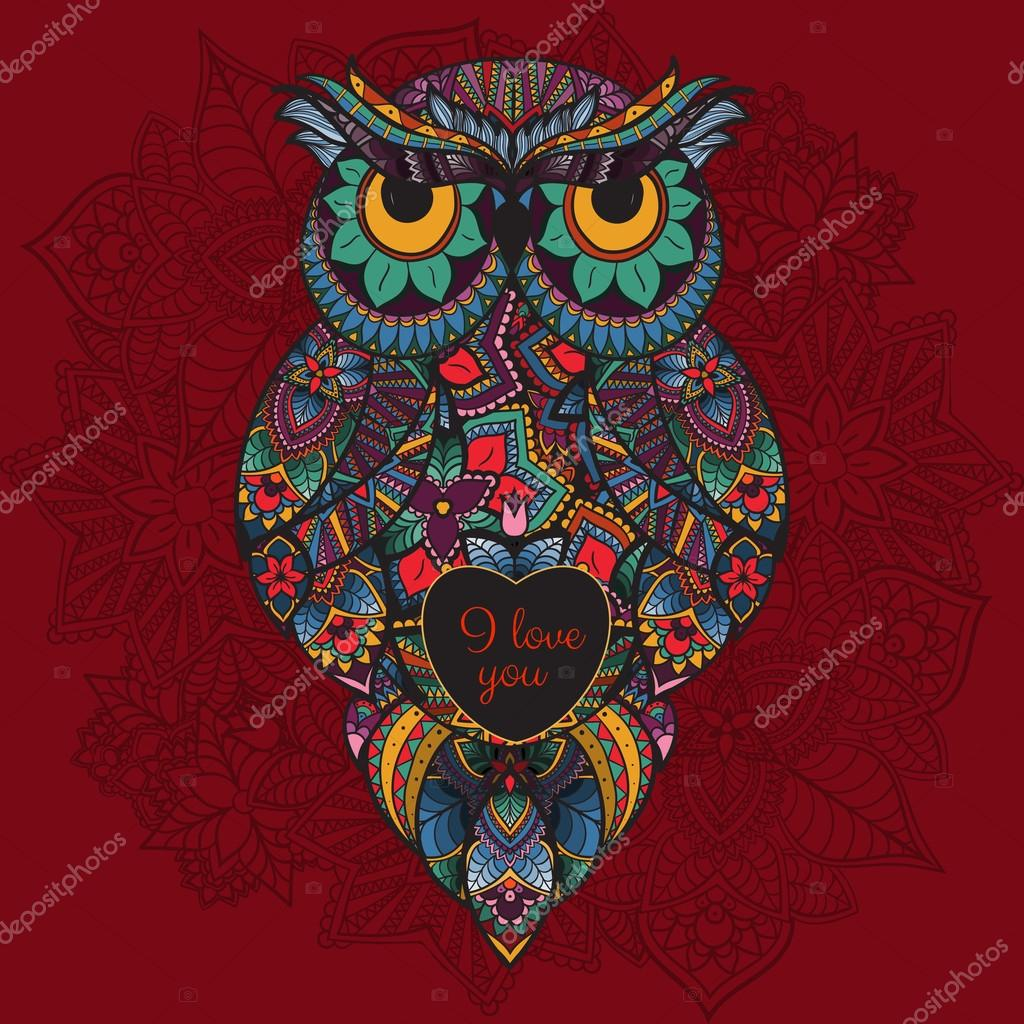 illustration of ornamental owl. Bird illustrated in tribal. Boho owl with love. Heart for Valentine day
