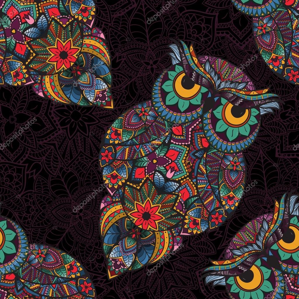 illustration of owl. Bird illustrated in tribal.Owl with flowers on dark background.