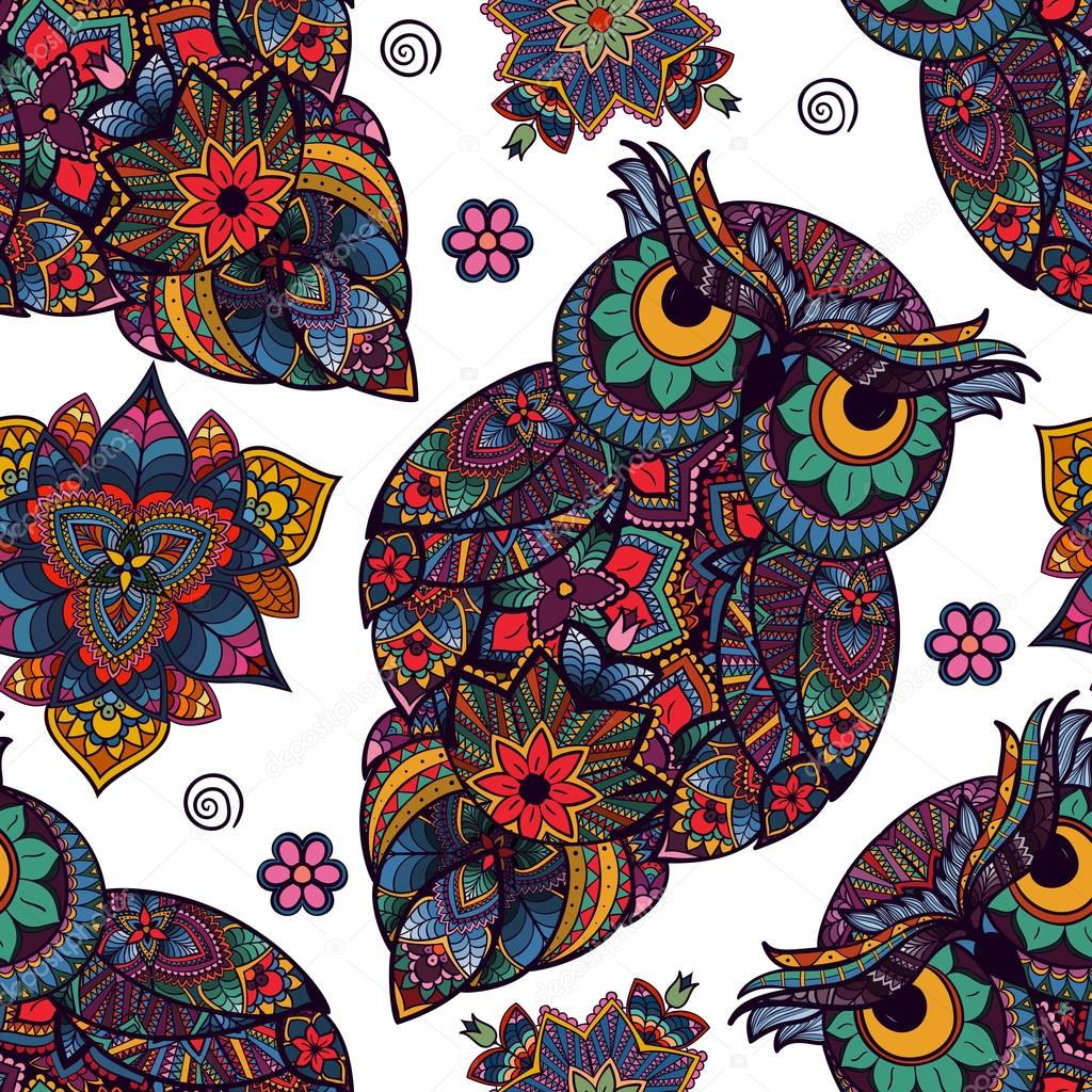 illustration of owl. Bird illustrated in tribal. Owl with flowers on light background. Shaped and ornamental owl.