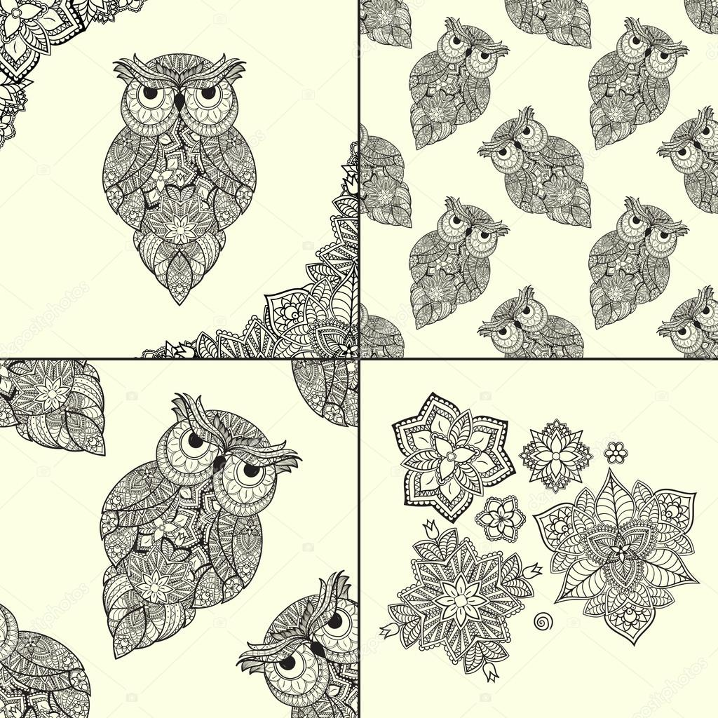 illustration of ornamental owl. Bird illustrated in tribal. Set of ornamental owls with flowers and pattern from owls.