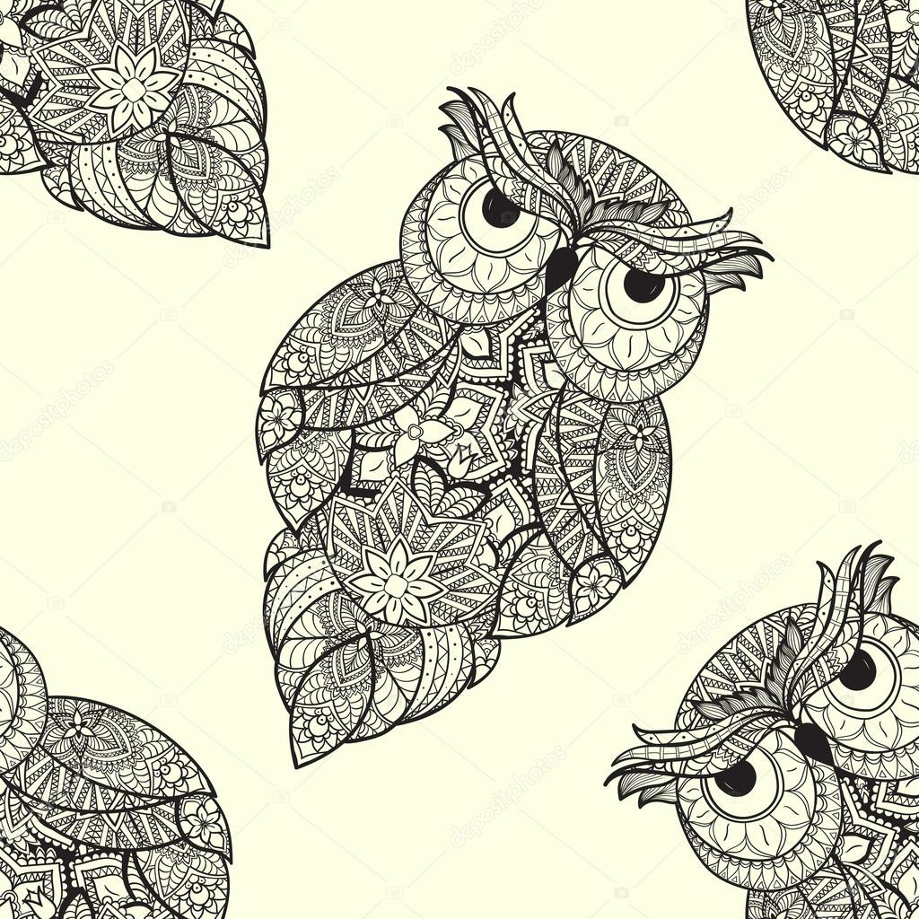 illustration of ornamental owl. Bird illustrated in tribal.