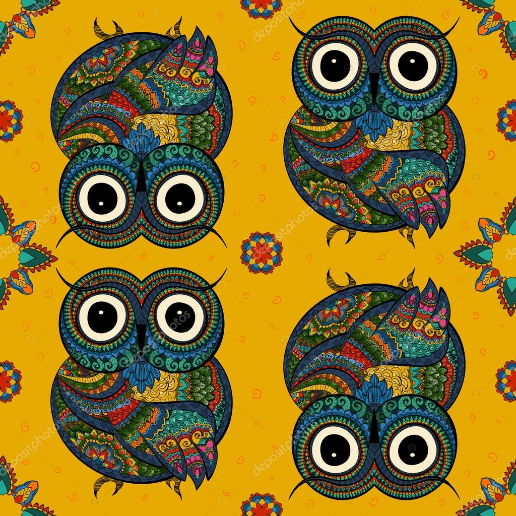 illustration of owl. Bird illustrated in tribal.Owl whith