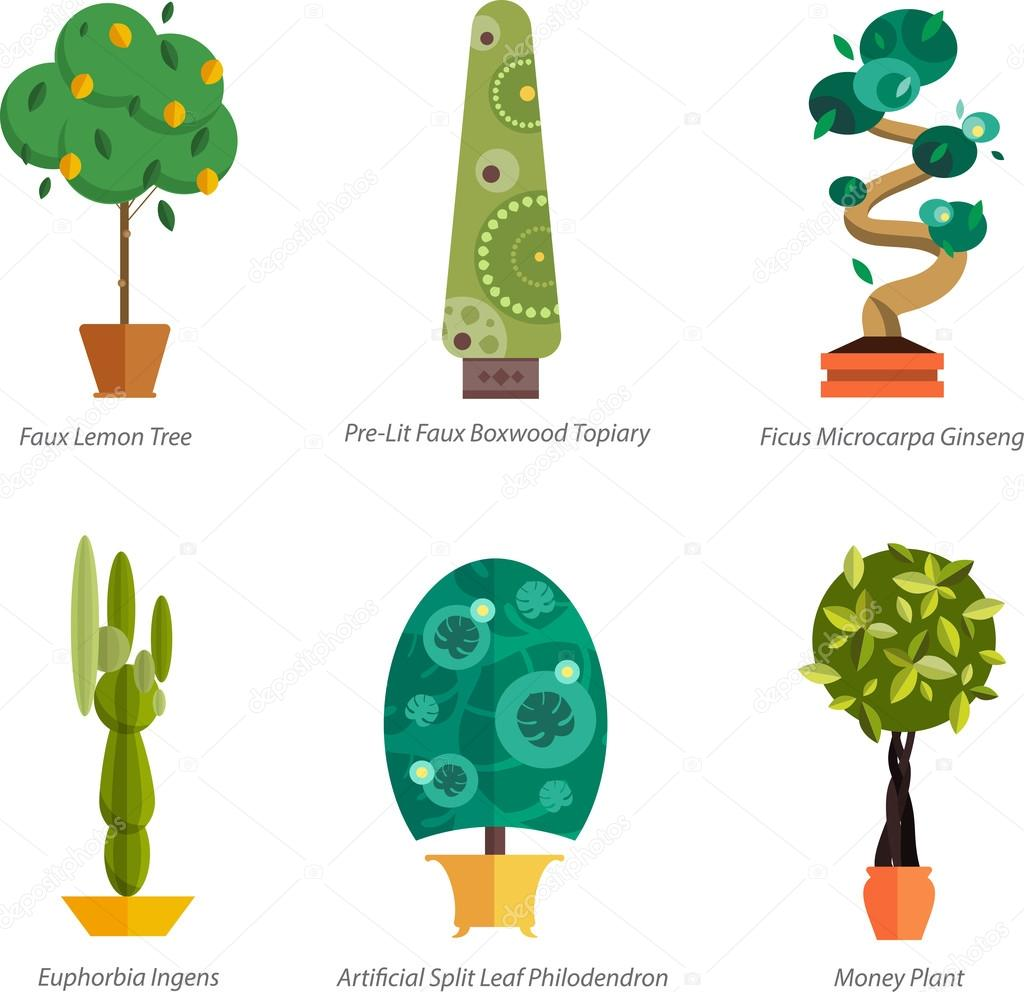 vector conjunto de plantas de interior en macetas ilustracin de homeplants de rboles de suelo para interior plantas para la decoracin casera