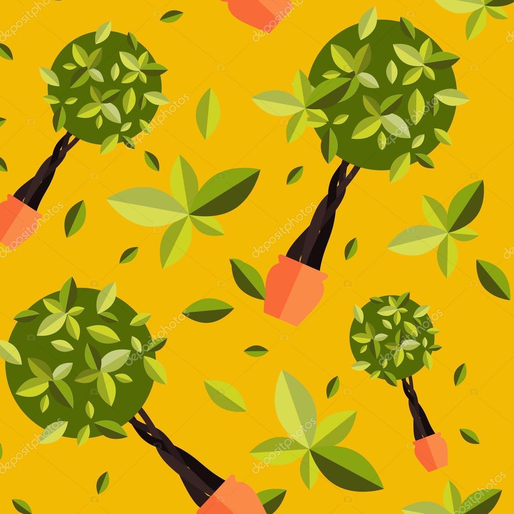 Nahtlose Muster mit Zimmerpflanzen, innen- und Büro Blumen ...