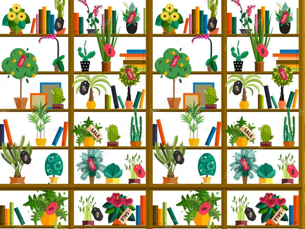 Indoor potted plants on shelves set isolated flat style illustration