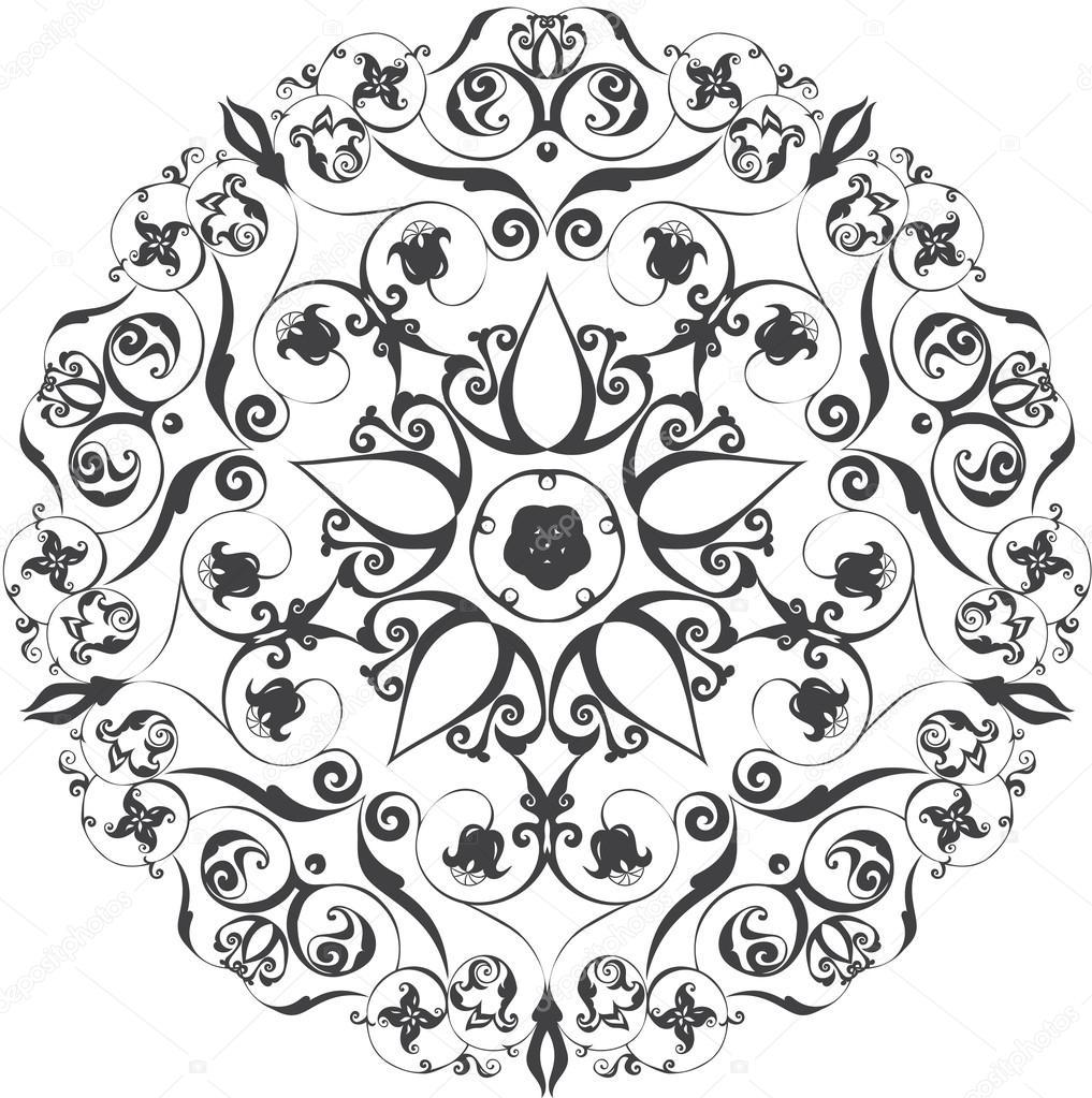 patrón de ornamento redondo. elementos decorativos Vintage. Fondo ...