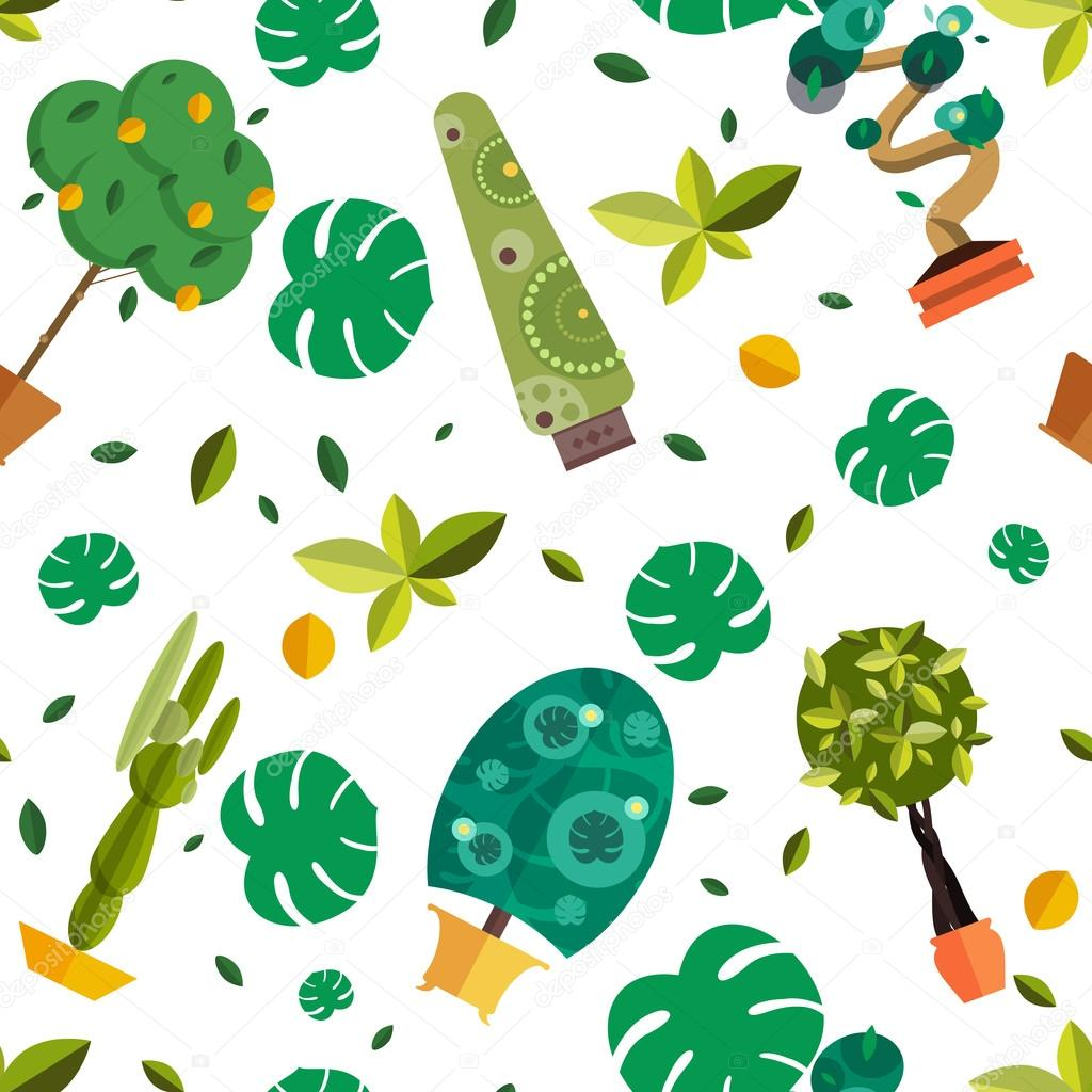 Seamless pattern with houseplants, indoor and office flowers in pot.