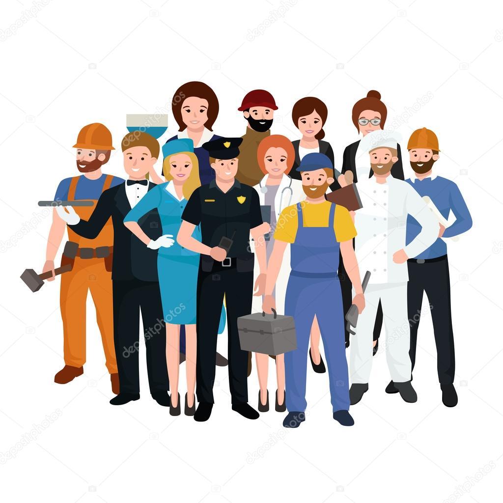 Equipo de trabajadores conjunto uniforme personas