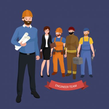Civil engineer, architect and construction workers group of people