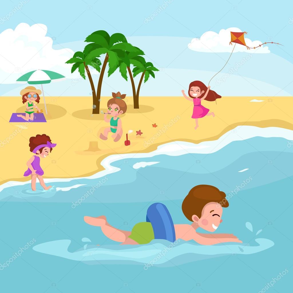 Yaz çocuk Sahilde Kumda Oynayan çocuklar Stok Vektör Anutaberg