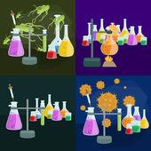 Vybavení pro výzkum laboratorní chemie vzdělání, věda laboratorní skleněné trubice, vektor