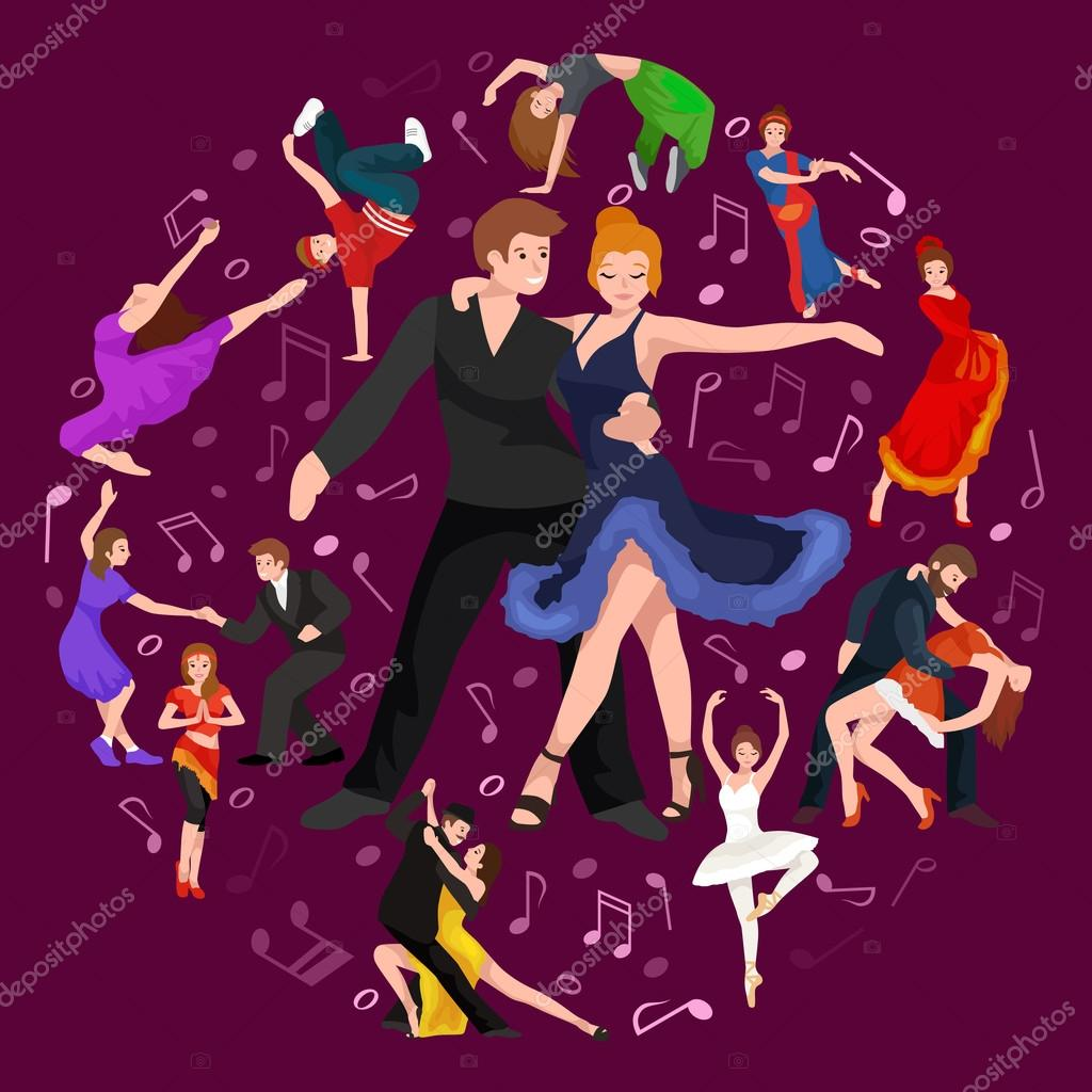 Vector illustration of couple dancing modern dance, Partners dance bachata, Dancing style design concept set, traditional dance flat icon isolated vector illustration, Man and woman ballroom dancing. clipart vector