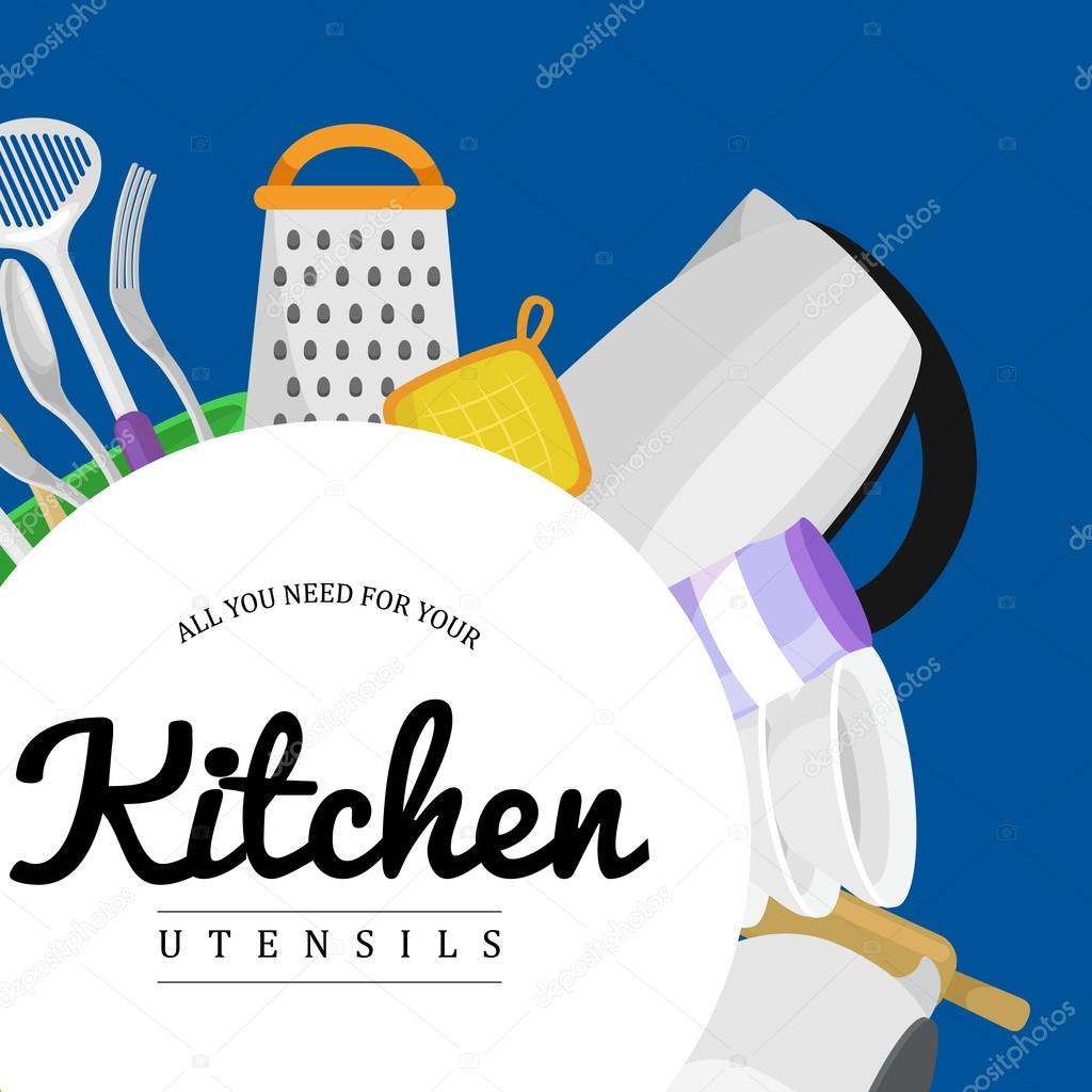Kitchen Utensils Background food and cooking banner set with kitchenware utensils, kitchen set