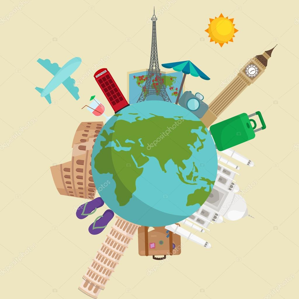 Travel Around The World Poster Tourism Vacation Earth Journey Global Vector Illustration Concept Banner International Business