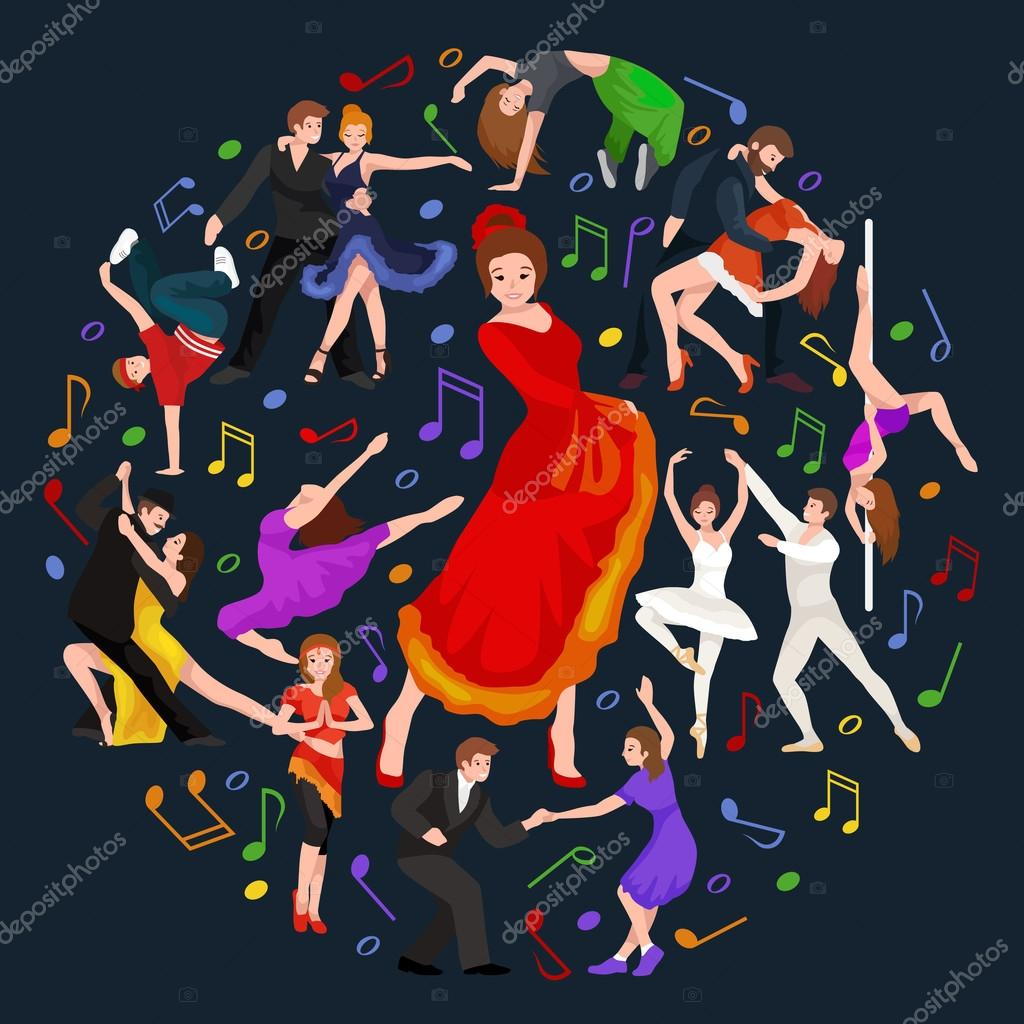 Girl flamenco dancer in red dress, spanish beautiful dance, spain young woman, Dancing couples, happy sexy woman dancing flamenco, Spanish girl vector illustration isolated on white