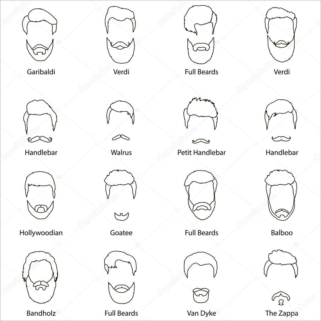 Manner Cartoon Frisuren Mit Bart Und Schnurrbart Vektor