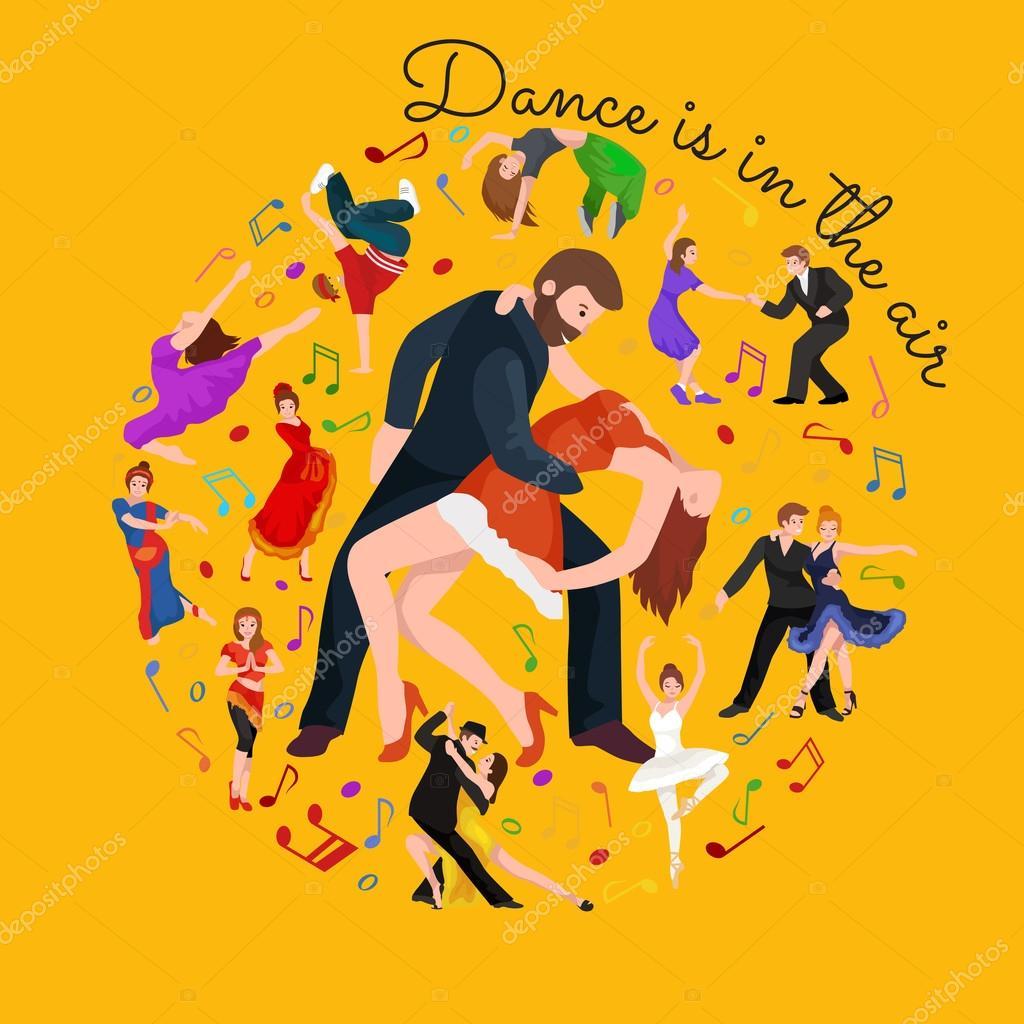 Uberlegen Paare Tanzen Kizomba In Hellen Kostümen. Vektor Illustration Der Partner  Tanz Bachata, Glücklich