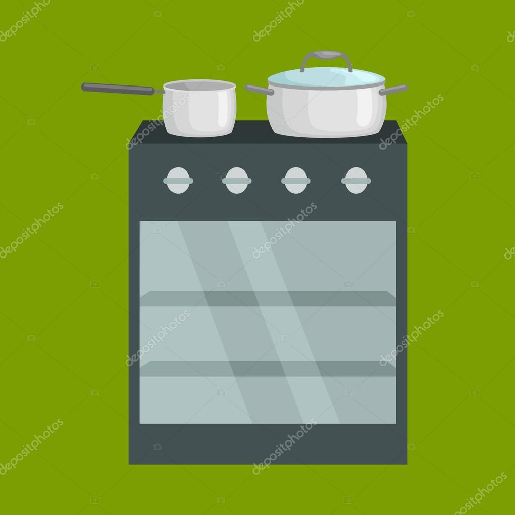 Frying pan on stove kitchenware icons vector set, cooking equipment ...