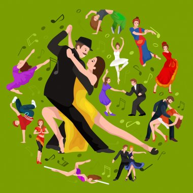 Yong couple man and woman dancing tango with passion, tango dancers vector illustration isolated on white Latin and ballroom dances, peoples dansing tango, girl and boy tango clip art vector