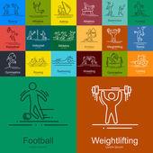 sportovní tenká linie vektorové ikony nastavit piktogramy