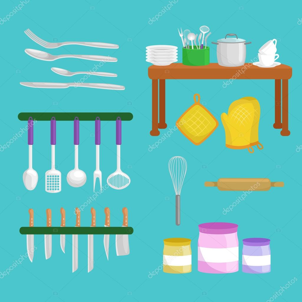 Kitchenware icons vector set.Cartoon kitchen utensil collection for ...