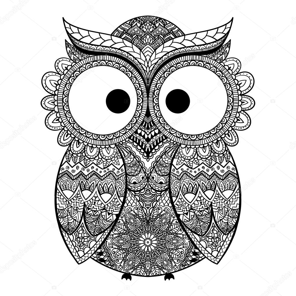 Vector illustration of owl. Bird illustrated in tribal.Owl whith flowers on light background. Shaped and ornamental owl.