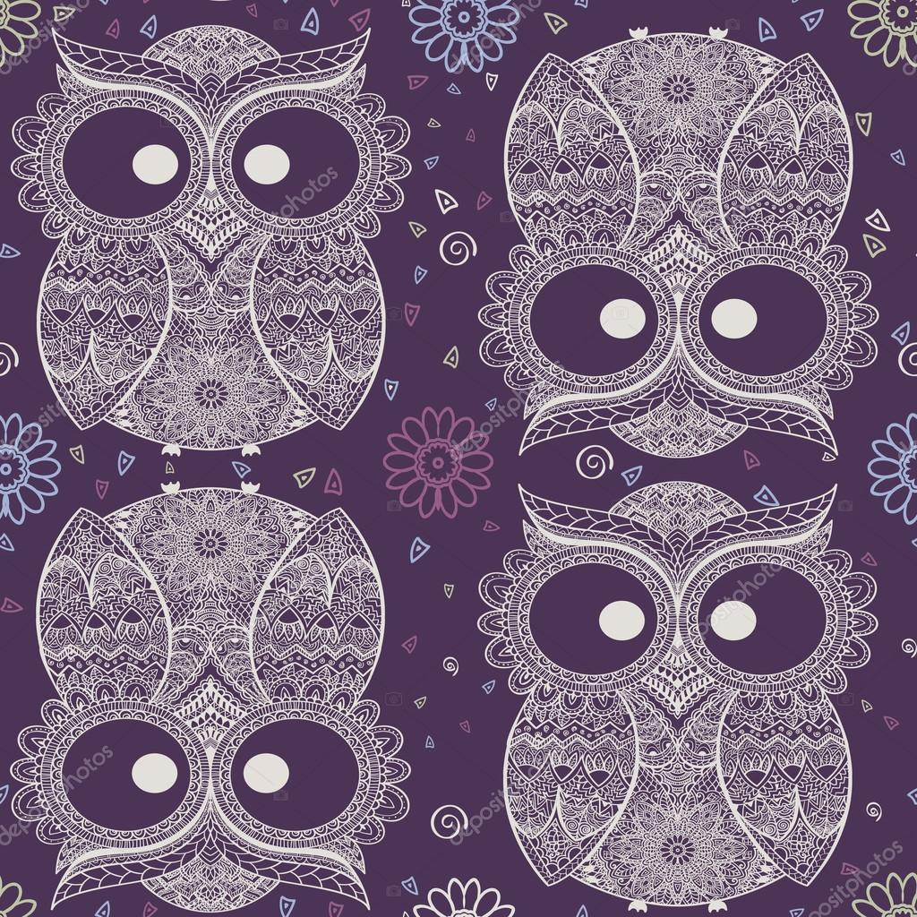 Ornamental owl on the patterned background.
