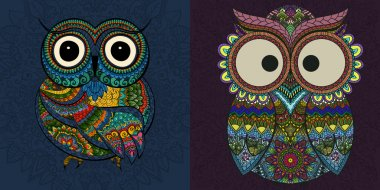 Vector set of  illustrations of ornamental owl. Bird illustrated in tribal.