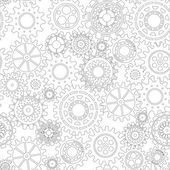 Business mechanism concept. Abstract background with connected gears and icons for strategy, service, analytics, research, seo, digital marketing, communicate concepts. Vector seamless pattern